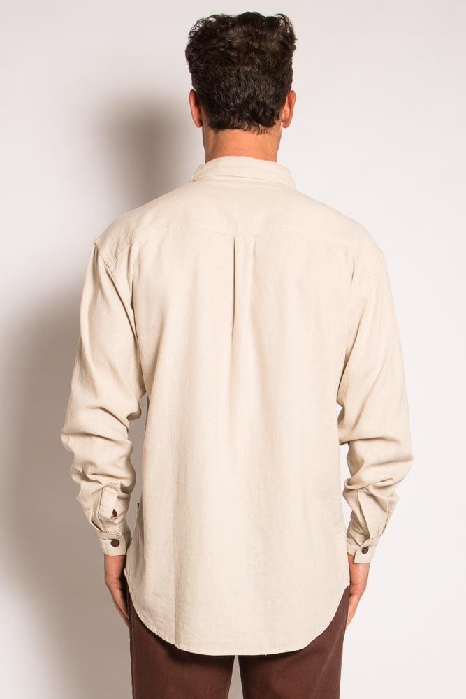 Mens Hemp Rayon Relax Fit Long Sleeve Shirt-Bone
