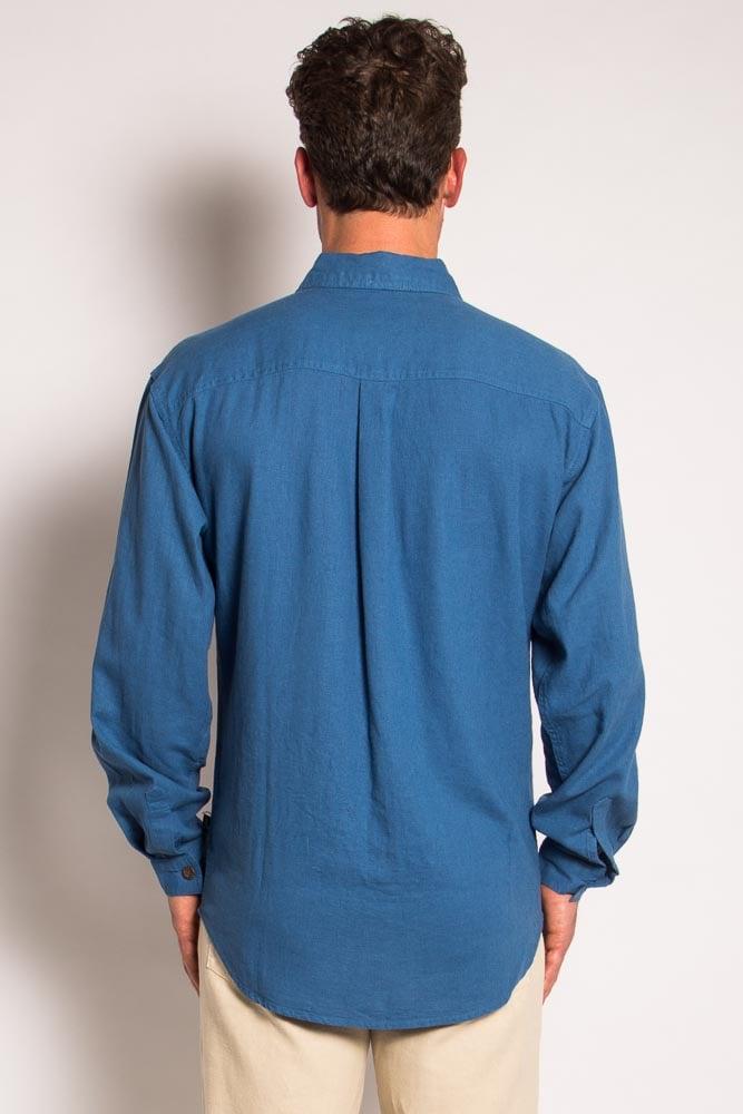 Mens Hemp Rayon Relax Fit Long Sleeve Shirt-Blue