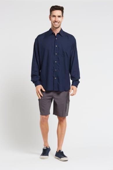 Mens Premium Hemp Rayon Relax Fit Long Sleeve Shirt-Navy