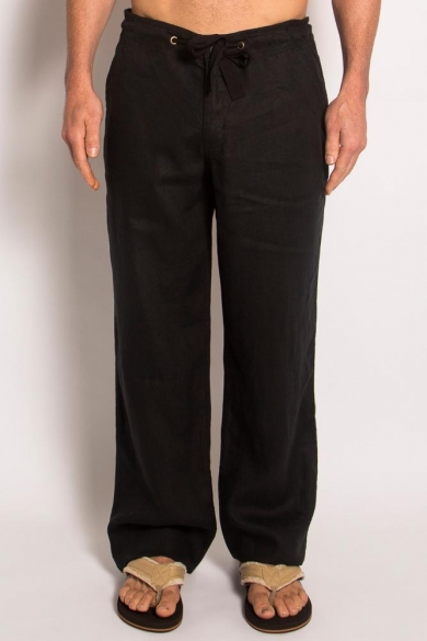 100% Hemp Mens Relaxing Beach Pants with Draw String-Black