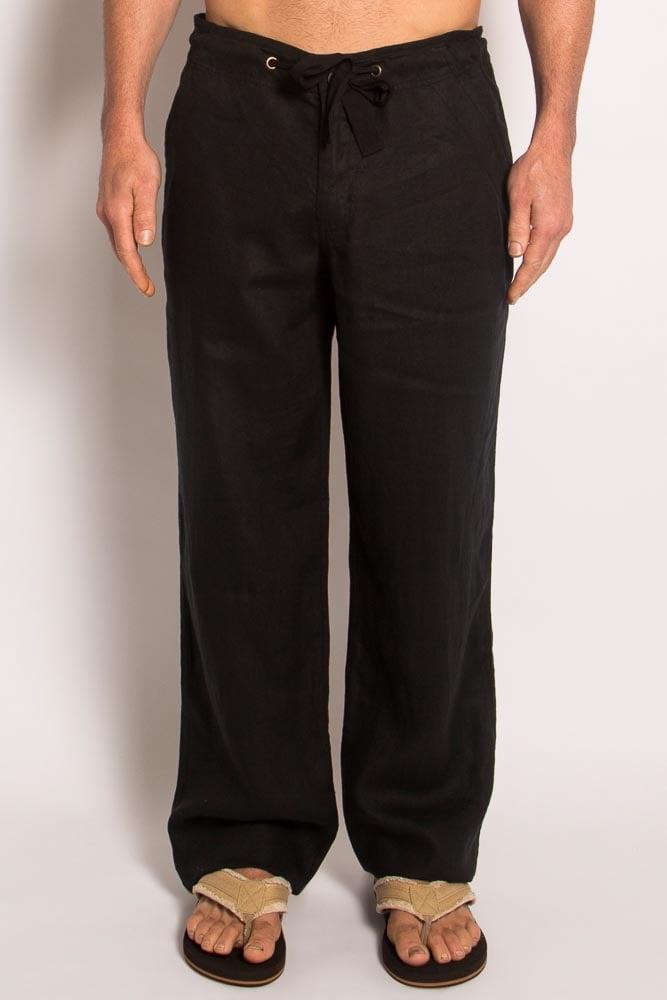 100% Hemp Mens Relaxing Beach Pants with Draw String-Black