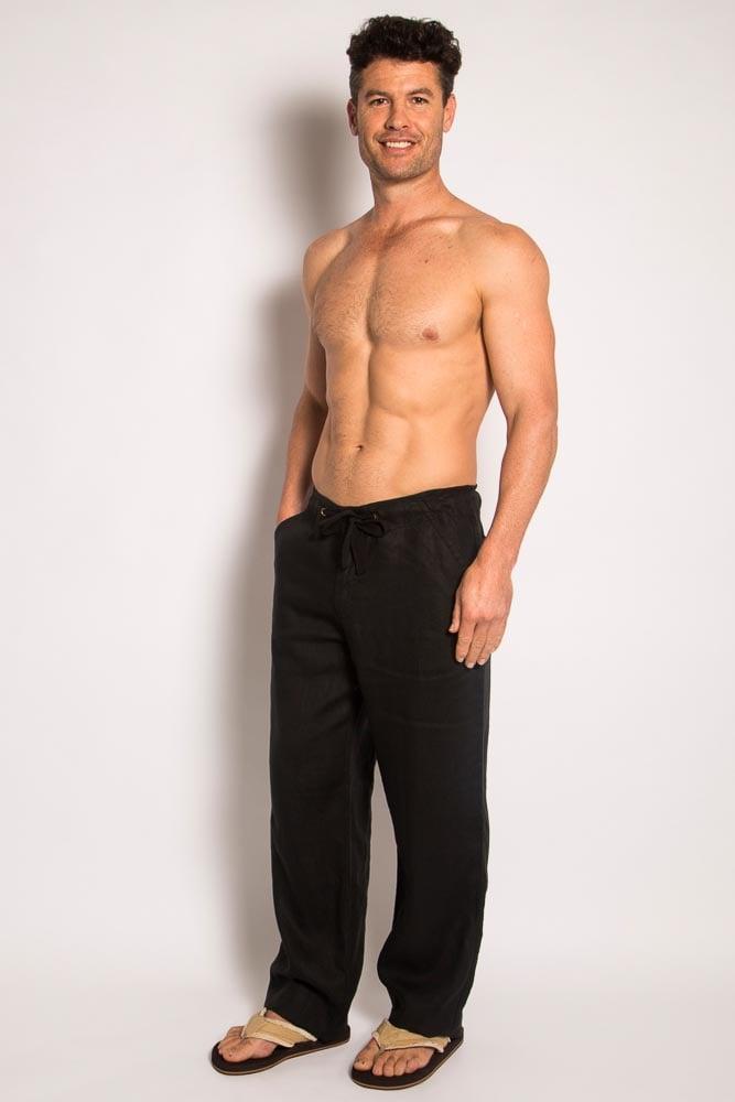 100% Premium Hemp Mens Relaxing Beach Pants with Draw String-Black