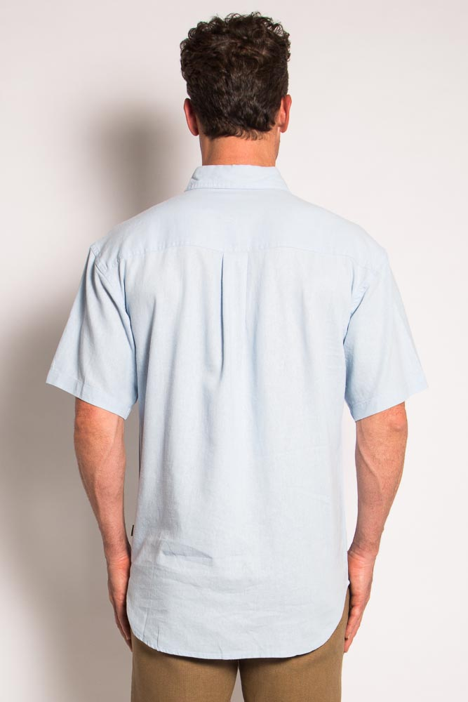 Mens Hemp Rayon Relax Fit Short Sleeve Shirt-Sky