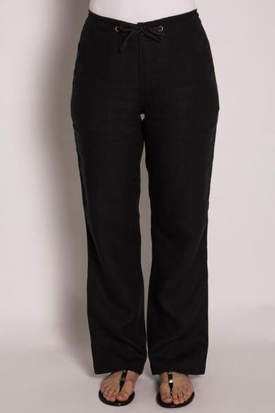 Ladies 100% Premium Hemp Drawstring Beach Pants-Black