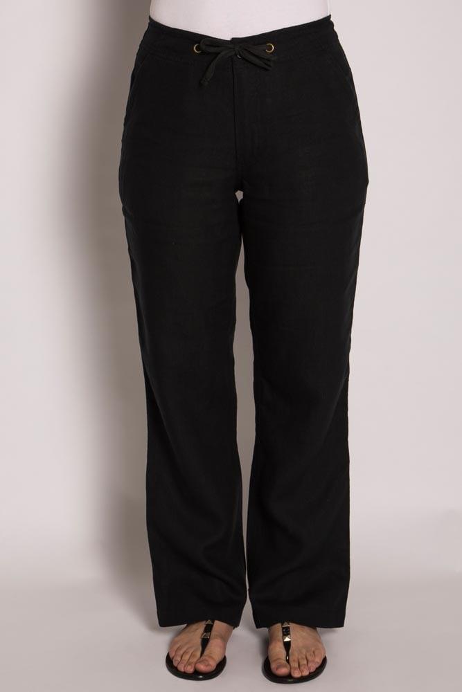 Ladies 100% Hemp Drawstring Beach Pants-Black