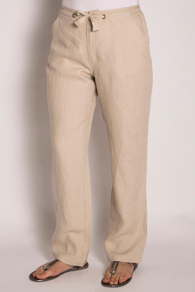 LSB796 Ladies 100%Hemp Drawstring Beach Pants-Natural