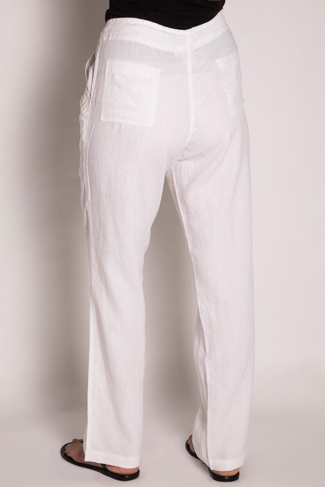 LSB796 Ladies 100%Hemp Drawstring Beach Pants-White