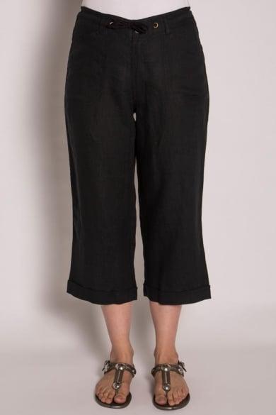 Ladies Pure Hemp 3/4 Beach Pants-Black