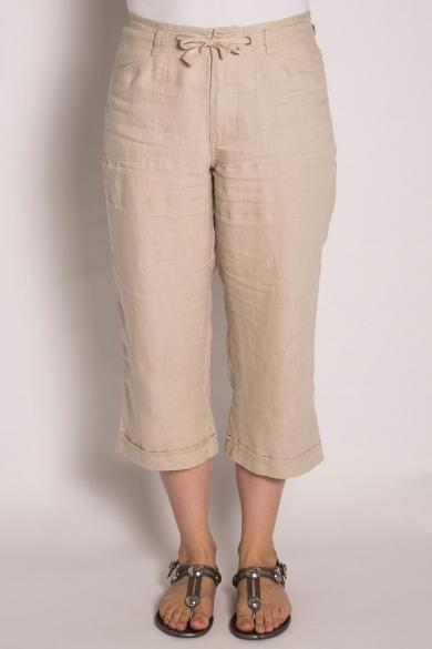 Ladies Pure Hemp 3/4 Beach Pants - Stone