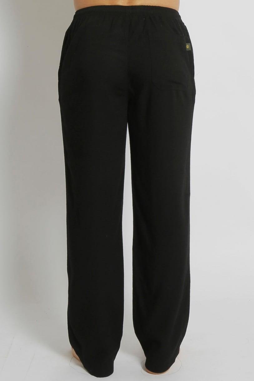Men's Bamboo Hemp Elastic Waist Beach Pants-Black