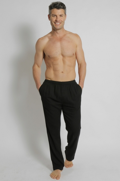 Men's Bamboo Hemp Elastic Waist Beach Pants-Black