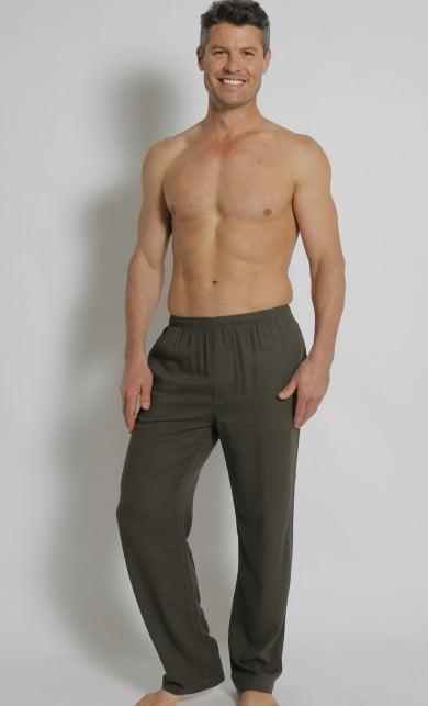 Men's Bamboo Hemp Elastic Waist Beach Pants-Grey