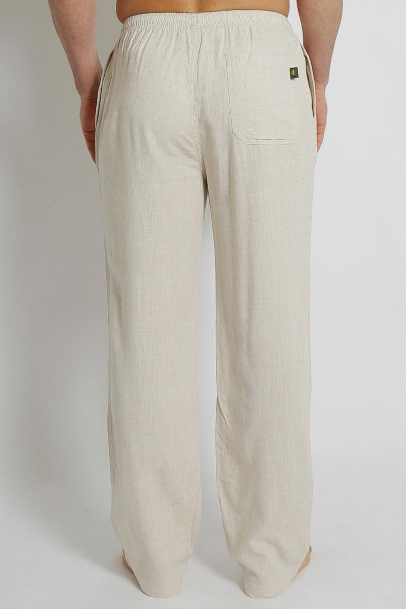 Men's Bamboo Hemp Elastic Waist Beach Pants-Natural