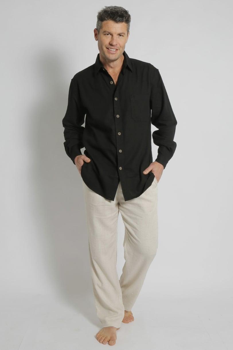 Mens Hemp Rayon Relax Fit Long Sleeve Shirt-Black
