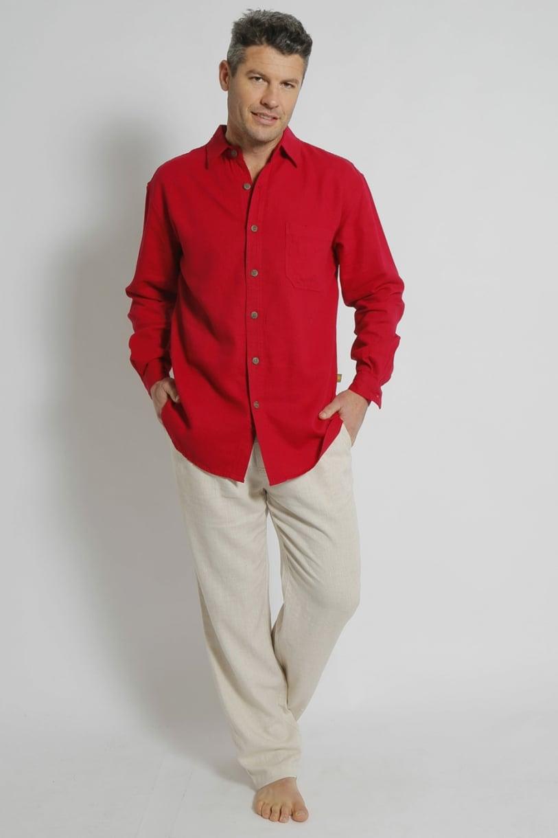 Mens Hemp Rayon Relax Fit Long Sleeve Shirt-Red