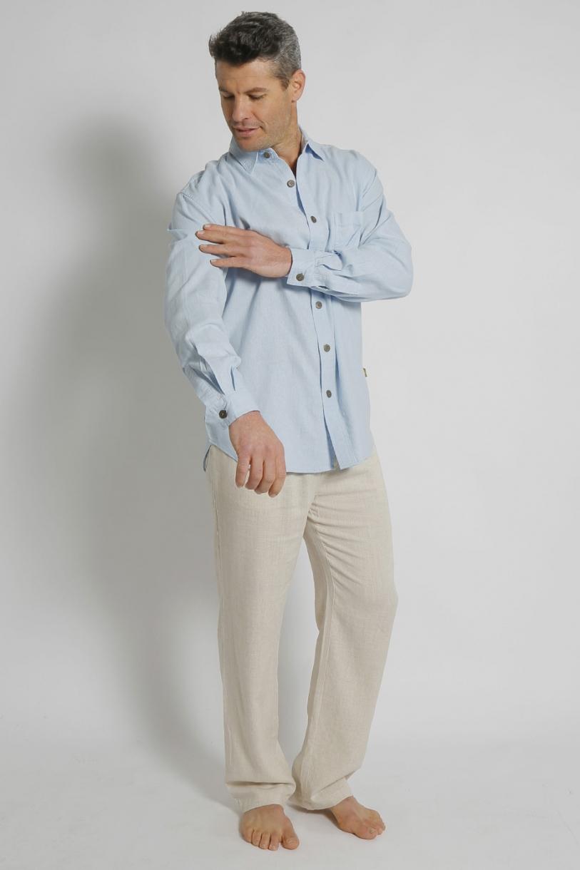 Mens Hemp Rayon Relax Fit Long Sleeve Shirt-Sky