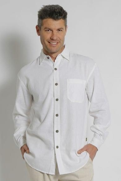 Mens Premium Hemp Rayon Relax Fit Long Sleeve Shirt-White