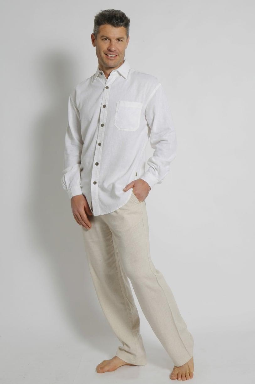 Mens Hemp Rayon Relax Fit Long Sleeve Shirt-White