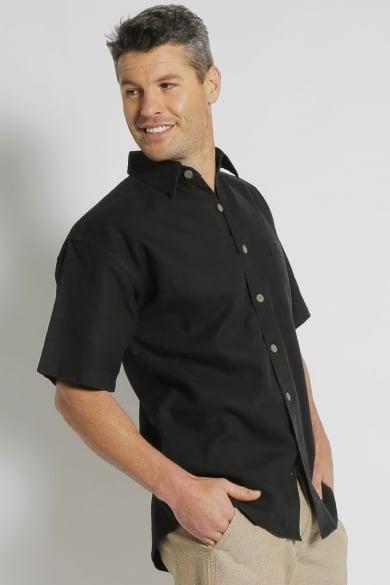 Mens Hemp Rayon Relax Fit Short Sleeve Shirt-Black