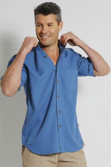 Mens Hemp Rayon Relax Fit Short Sleeve Shirt-Blue