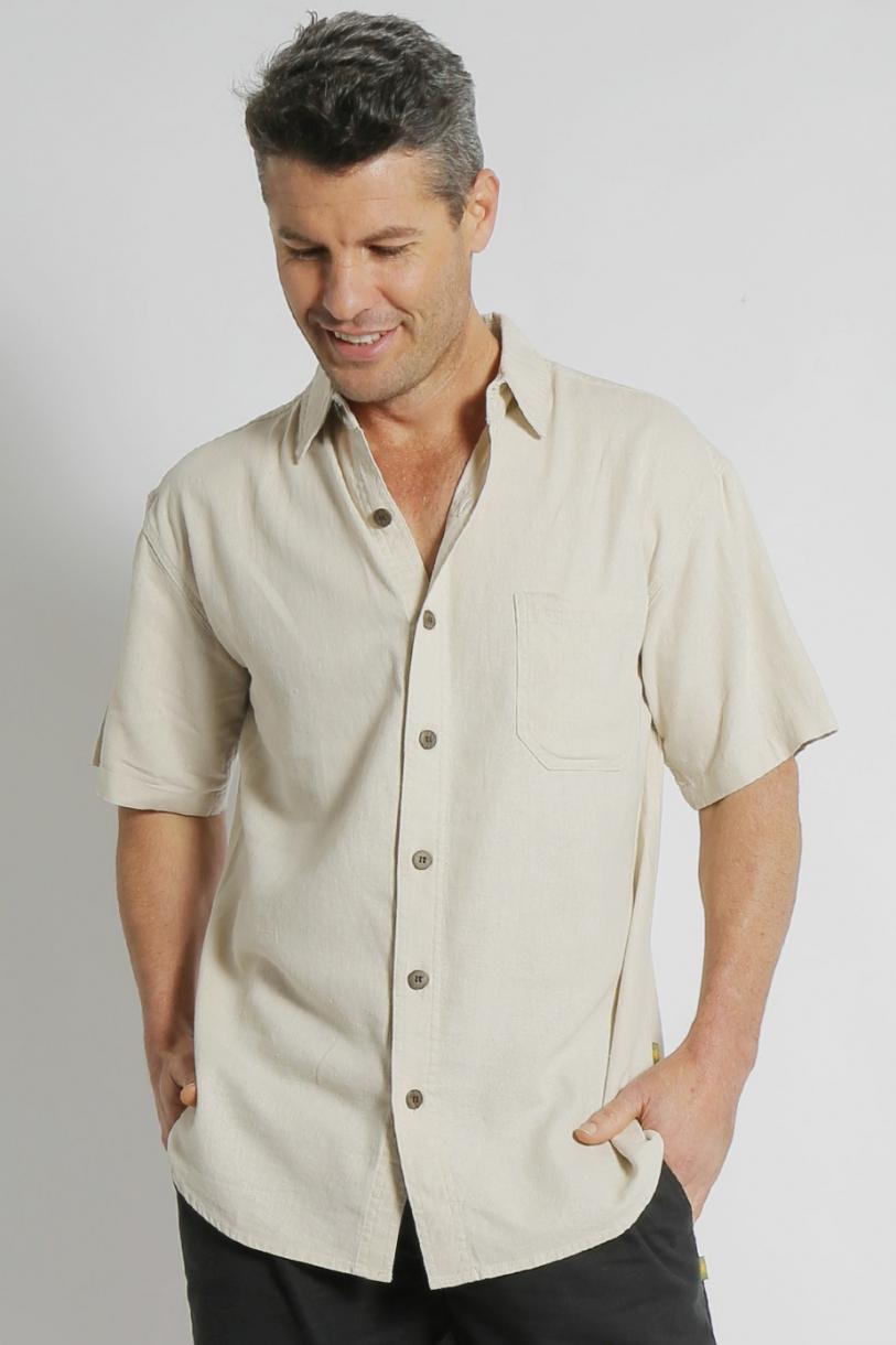 Mens Hemp Rayon Relax Fit Short Sleeve Shirt-Bone