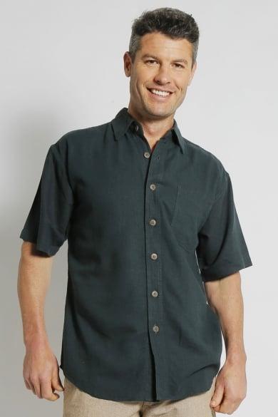 Mens Hemp Rayon Relax Fit Short Sleeve Shirt-Bottle
