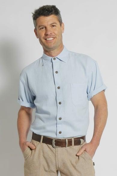 Mens Hemp Rayon Relax Fit Short Sleeve Shirt-Sky