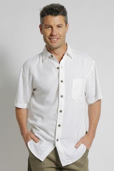 Mens Premium Hemp Rayon Relax Fit Short Sleeve Shirt-White
