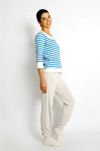 LADIES HEMP COTTON SLACKS-BEIGE