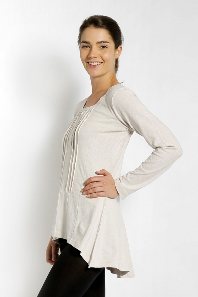 LADIES HEMP COTTON TUNIC-BEIGE