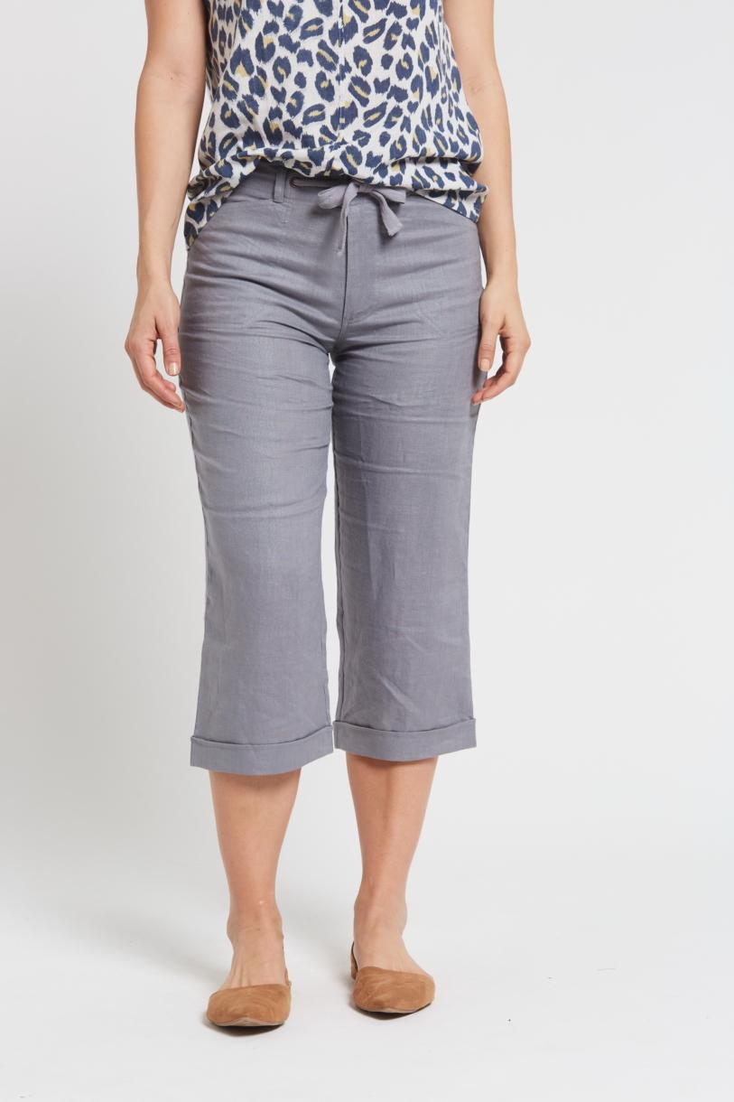 Ladies Pure Hemp 3/4 Beach Pants-Grey