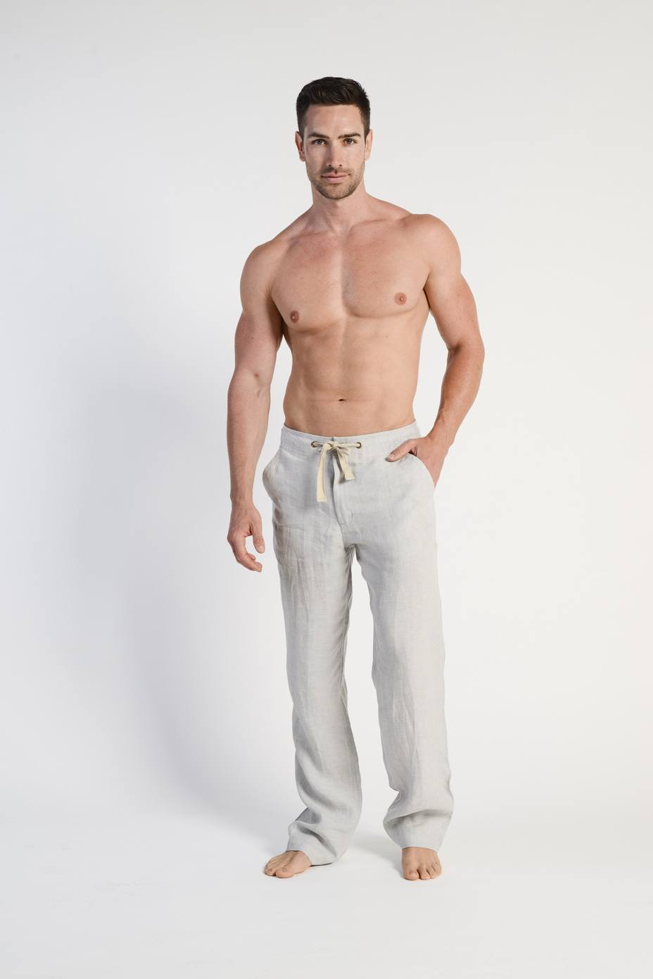 100% Hemp Mens Relaxing Beach Pants with Draw String-Ivory