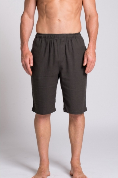 MEN'S HEMP BAMBOO ELASTIC WAIST SHORTS-GREY
