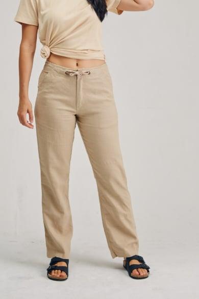Ladies 100% Premium Hemp Drawstring Beach Pants - Sand