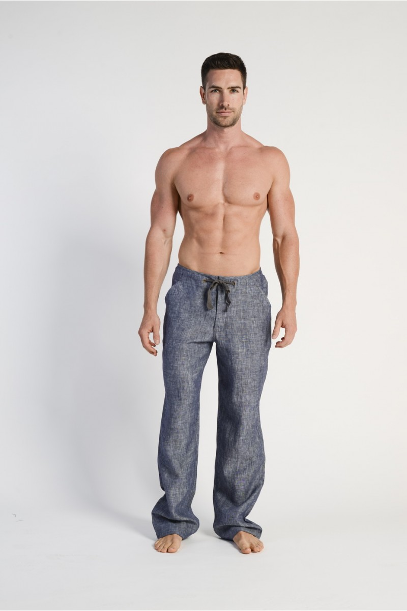 100% Hemp Mens Relaxing Beach Pants with Draw String-Navy