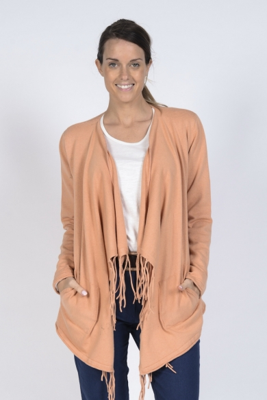 Ladies' Hemp Cotton Tassle Cardi-Apricot