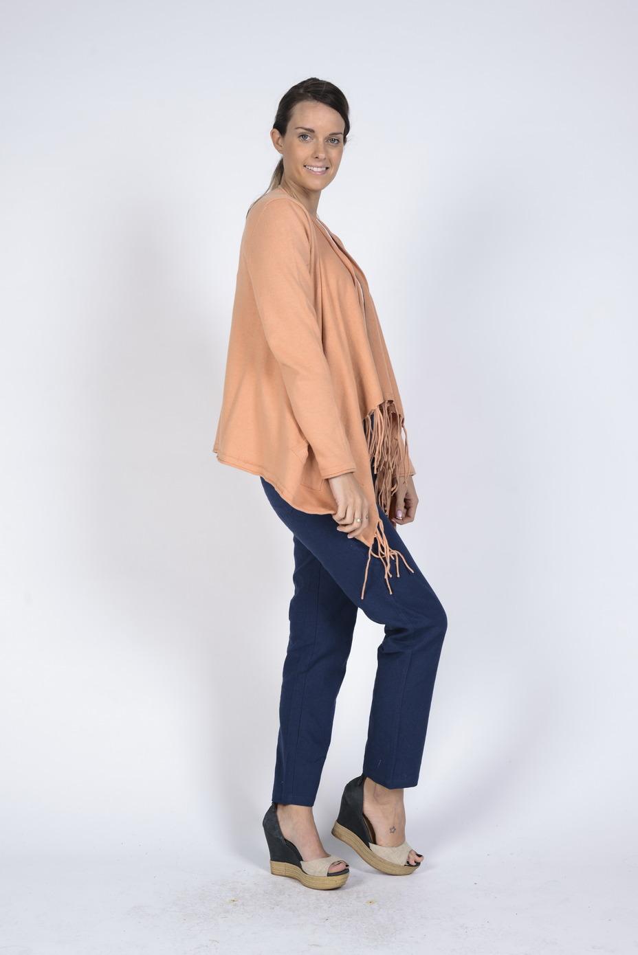 Ladies' Hemp Cotton Tassle Cardi-Apricot