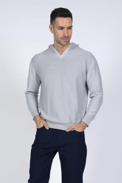 Men's Hemp Cotton Knit Hoodie-Grey