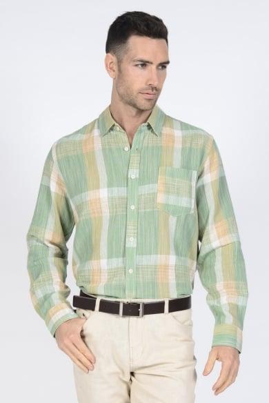 Men's 100% Hemp Plaid Shirt-Green