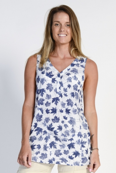 Ladies' Hemp Cotton Sleeveless Leaf Shirt- Blue Leaf