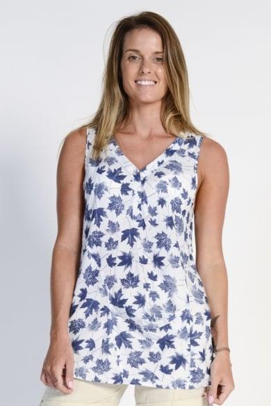 Ladies' Hemp Cotton Sleeveless Leaf Shirt- Blue Leaf
