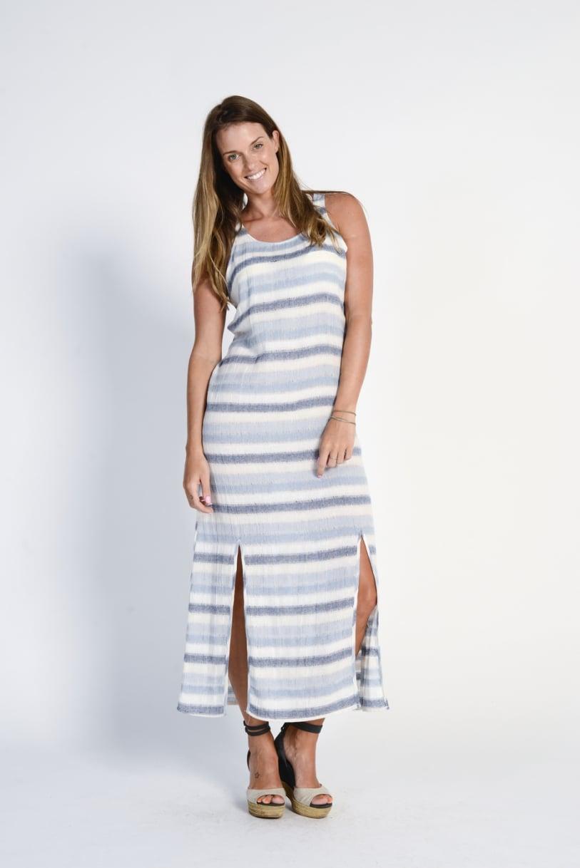 Ladies' 100%Hemp Light Weave Maxi Dress- Blue Stripe