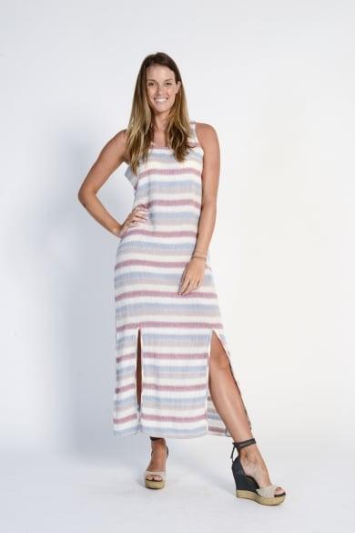 Ladies' 100%Hemp Light Weave Maxi Dress- Red Stripe
