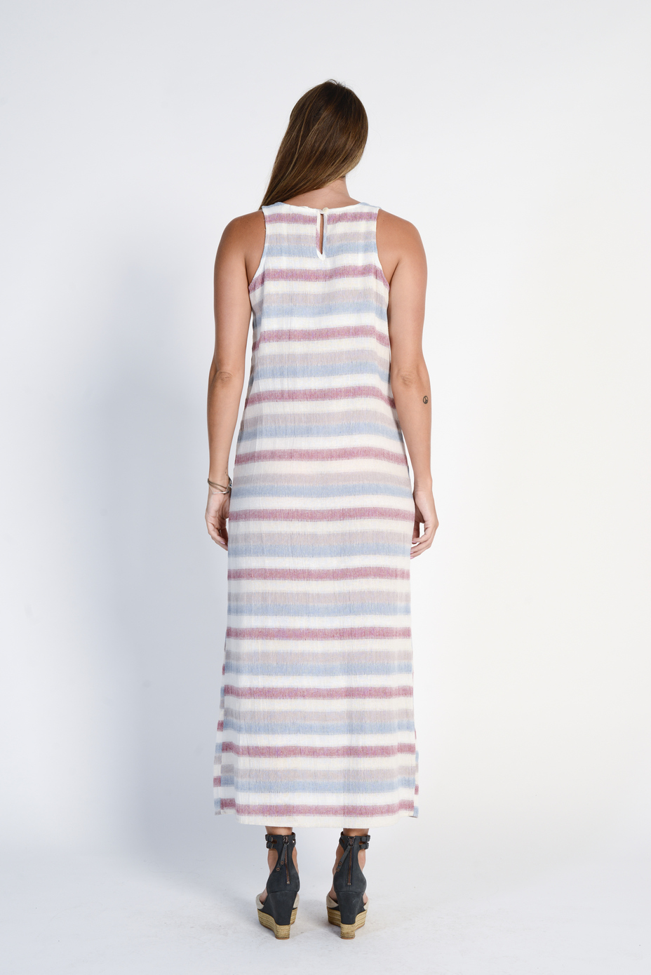 Ladies' 100%Hemp Light Weave Maxi Dress- Red Stripe