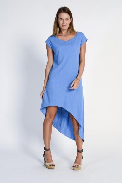 Ladies' Hemp Cotton Summer Dress- Blue