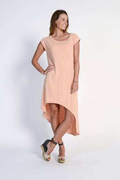 Ladies' Hemp Cotton Summer Dress- Peach