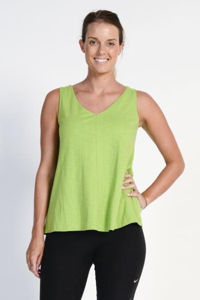 Ladies' Bamboo Cotton Swing V Neck Singlet- Green
