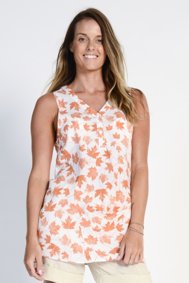 Ladies' Hemp Cotton Sleeveless Leaf Shirt- Orange Leaf