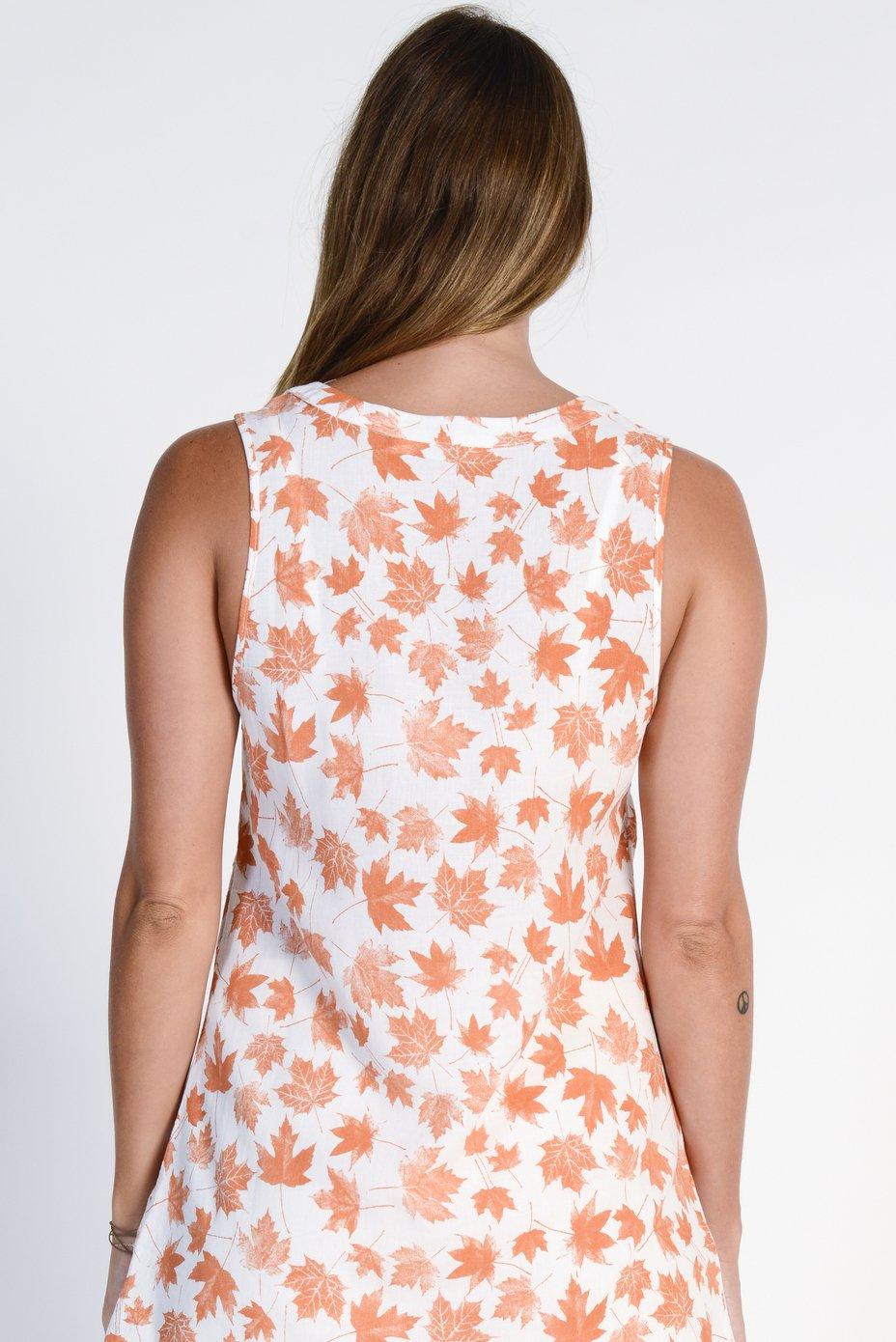 Ladies' Hemp Cotton Sleeveless Leaf Shirt- Orange Leaf