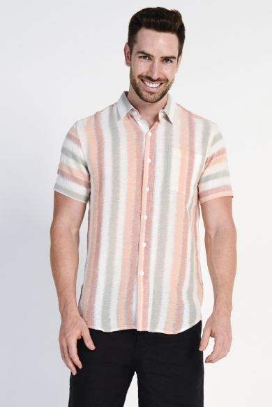 Men's 100%Hemp Light Weave S/S Shirt- Orange